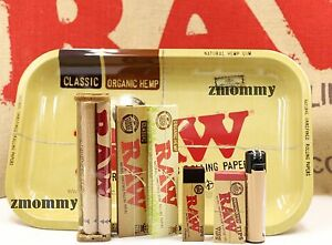AUTHENTIC-RAW-PAPER-KING-SIZE-COMBO-TRAY-PAPERS-TIPS-ROLLING-MACHINE-LIGHTER