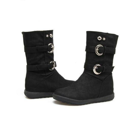 Details about  /Womens Mid-Calf Boots Buckle Round Toe Flats Cowboy Booties Casual Shoes Pull On