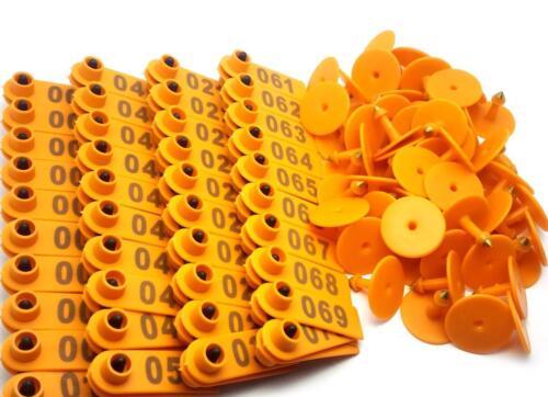 US Stock 100x Orange 001-100 Number Plastic Livestock Ear Tag For Goat Sheep