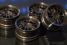 4 Räder Felgen 1/10 Schwarz 1:10 RC Car Rim 26mm 52mm On-Road Modellbau Auto 12