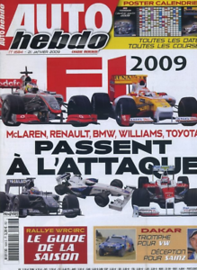 Auto Hebdo 1684 / 21 Janv 09 : Guide Wrc Paris Dakar De Villiers F1 + Poster