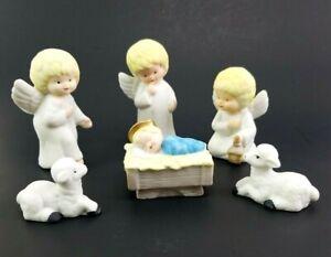 Vintage-Angel-Nativity-6-piece-Christmas-Around-The-World-Creche-Sheep-Figurine