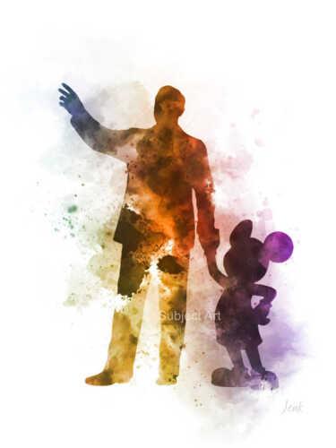 Disney ART PRINT Walt Disney walking with Mickey Mouse illustration Wall Art
