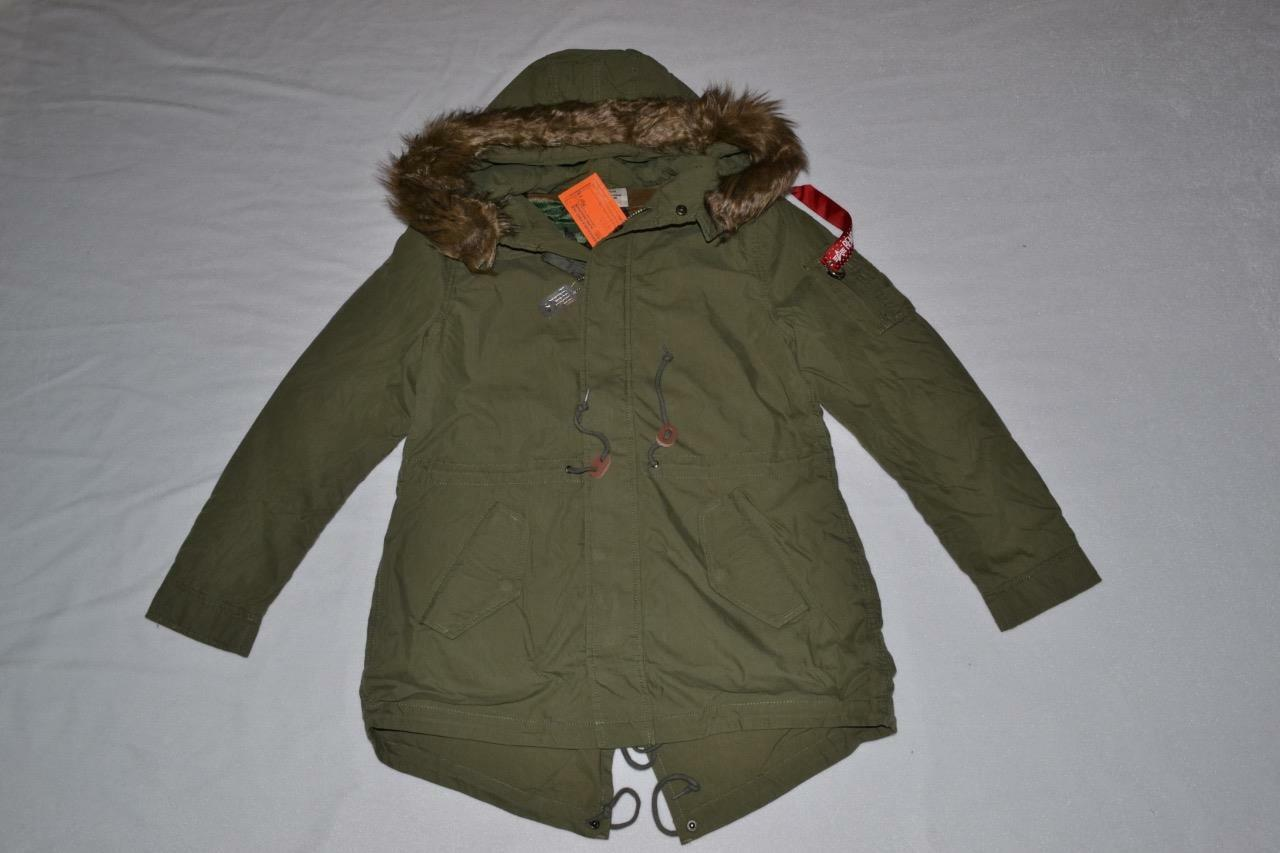 AUTHENTIC ALPHA INDUSTRIES WOMENS J-4 FISHTAIL  PARKA OLIVE M MEDIUM BRAND NEW