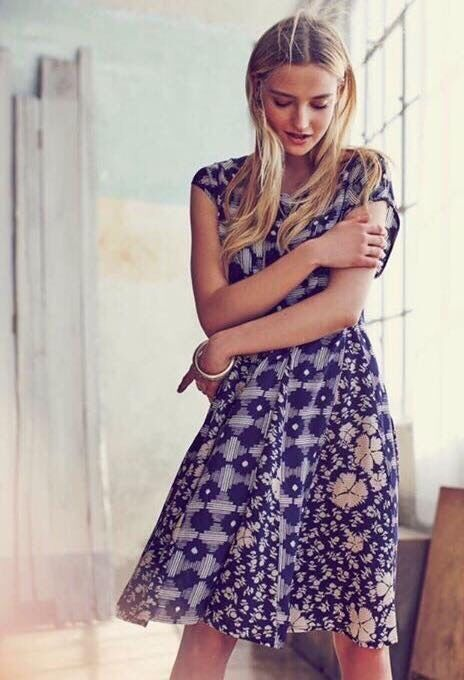 Maeve Anthropologie Indiga Swing Dress bluee Floral Tassel Sundress XS Sold Out