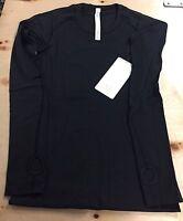 Lululemon Size 6 Swiftly Tech Ls Crew Pullover Shirt Black Run Long Sleeve