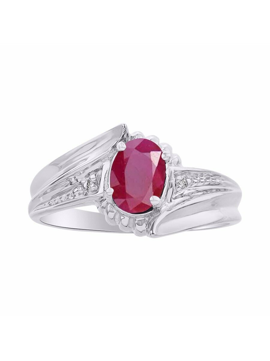 Diamond & Ruby Ring Set In 14K White gold - color Stone Birthstone Ring LR7071RW