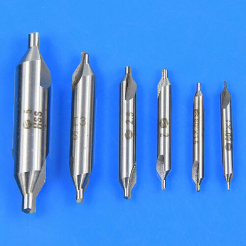 6pcs HSS Center Drill Bits Set Combined Countersinks Kit 60° 5//3//2.5//2//1.5//1mm