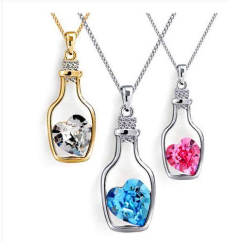 1//2x Women Heart Crystal Rhinestone Silver Chain Pendant Necklace Jewelry Love