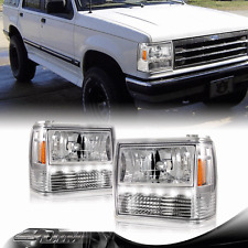 1PCS Chrome Housing LED Headlights + Corner Signal For 1991-1994 Ford Explorer