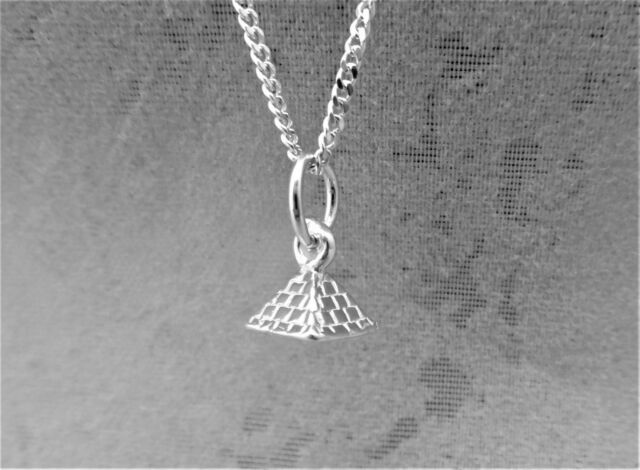 """Sterling Silver (925)  Solid 3D Charm """"Pyramid"""""""