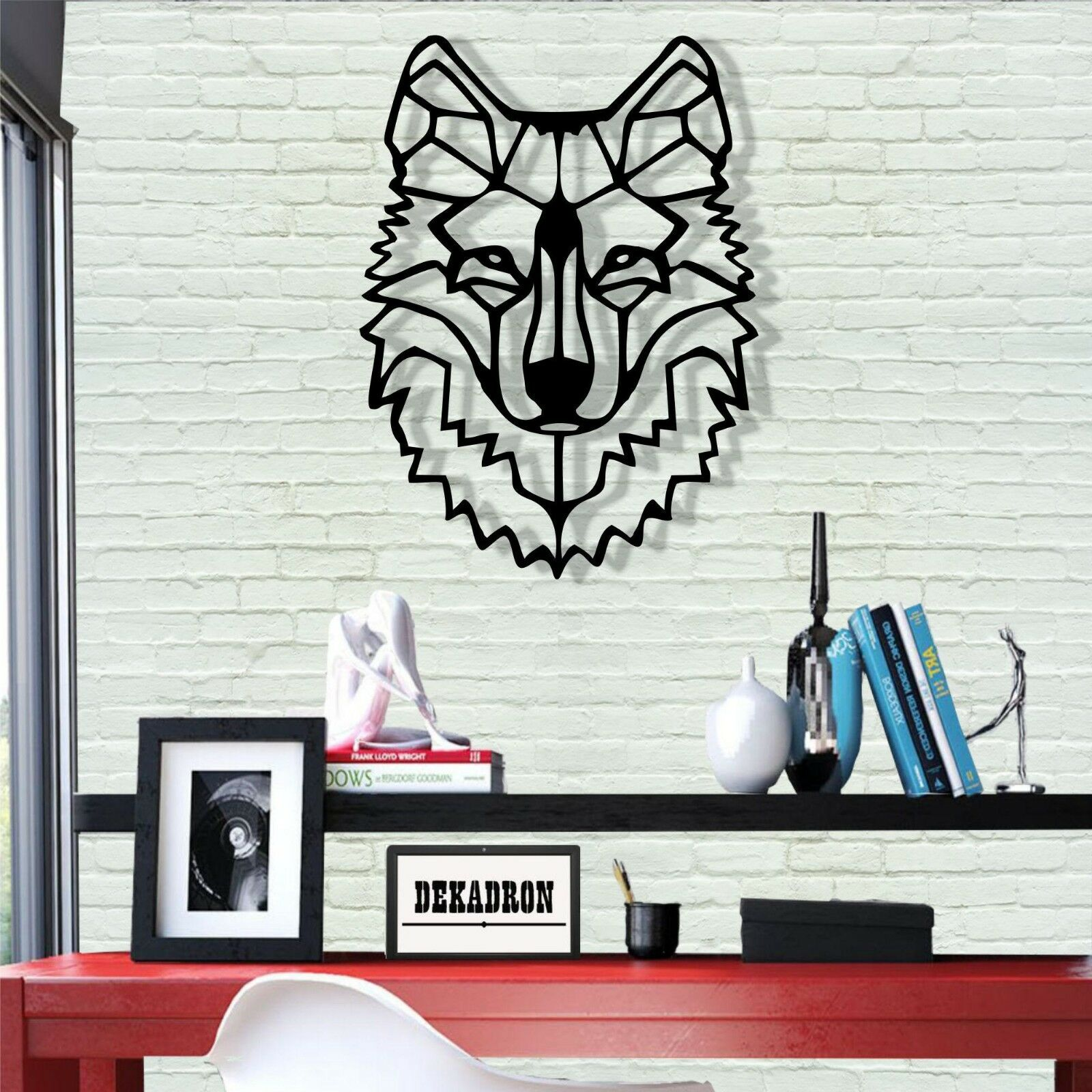 Metal Wolf Head Wall Art Metal Wall Decor Home Office Living Room Decoration