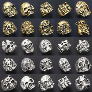 Wholesale-Mixed-Skull-Gold-Silver-Men-039-s-Rings-Jewelry-Big-Biker-Punk-Finger-Ring