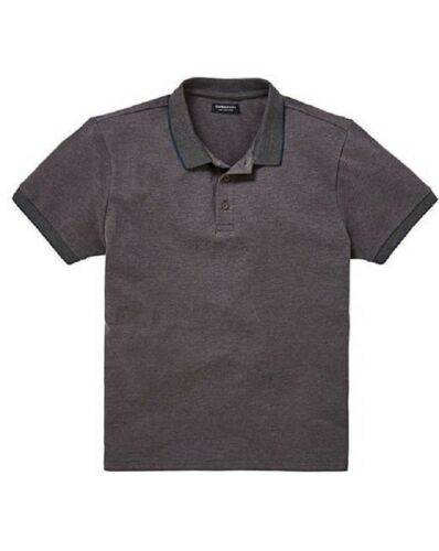 Mens charcoal grey tipped collar polo shirt from jacamo sizes small to 4xl new