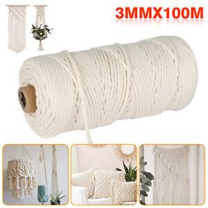 Artisan-Macrame-Rope-100-Natural-Cotton-Twisted-Cord-Craft-String-DIY-3mm-100m
