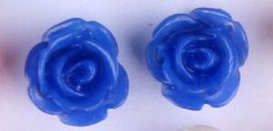 Studs Earrings Flower Blossom Rose Dark Blue Silbefarbenes Metal