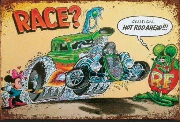 RAT FINK  HOT ROD Garage Rustic Look Vintage Tin Signs Man Cave Shed & Bar SIGN