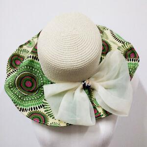 H20-grande-Cappello-Paglia-Estate-Di-Sole-Hat-con-tessuto-fantasia