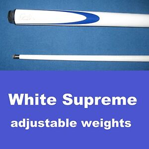 Pool-Snooker-Cue-034-WHITE-SUPREME-034-adjustable-weight-system