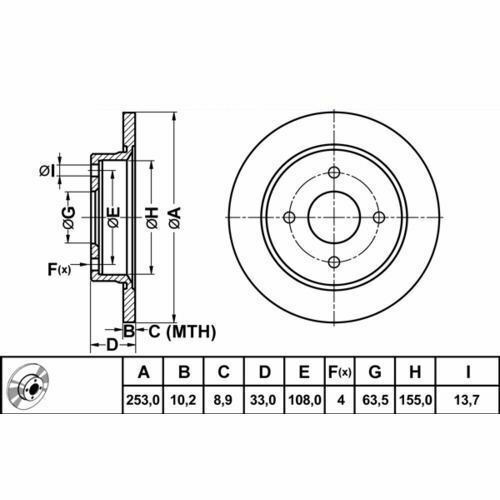 Fits ford sierra hayon 82-93 disques de frein avant 1323621 1373 781