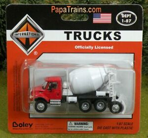 Die-Cast-Red-and-White-Cement-Mixer-Truck-by-Boley-HO-Scale-1-87-by-Boley