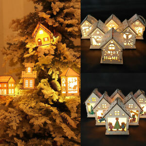 Christmas-Hanging-Ornament-LED-Lights-Wood-HOUSE-Xmas-Tree-Decorations-Baubles
