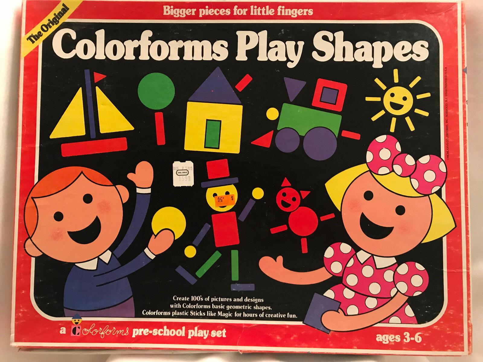 Vintage Original colorforms Play Set Set Set Shapes Primary colors Game Classic Toy 1977 78c169