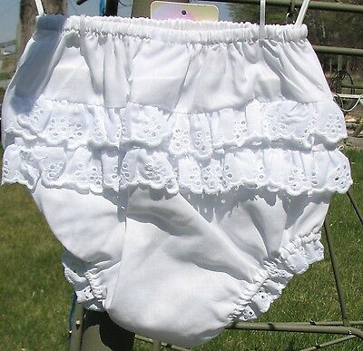 NWT Girl Diaper Cover White Eyelet Lace Bloomers Size 3 6 9 Baptism Gift