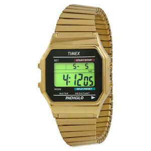 Timex-Classic-Digital-Golden-Stainless-Steel-Expansion-Men-039-s-Watch-T78677