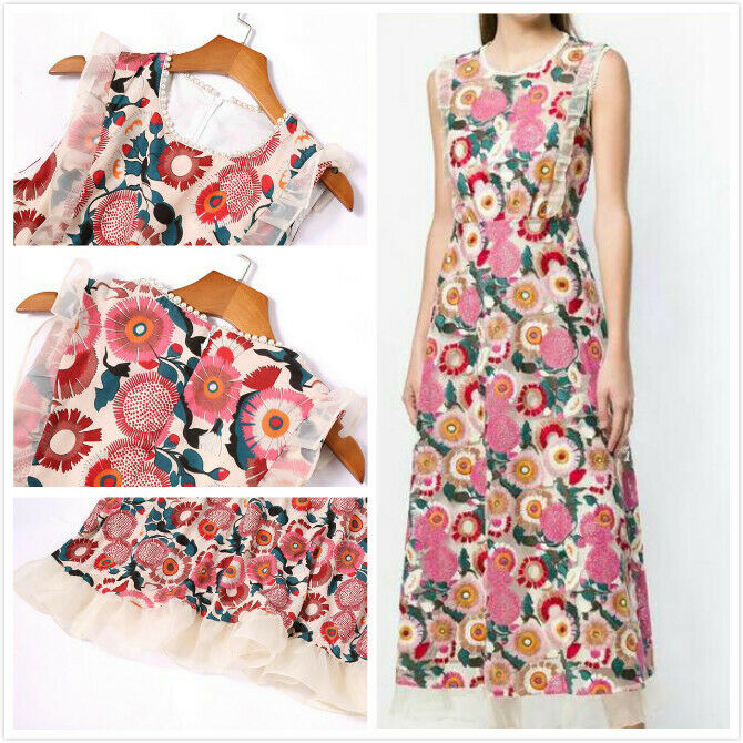 Sweet runway womens sleeveless floral Bohemia flouncing slim fit party dress SML