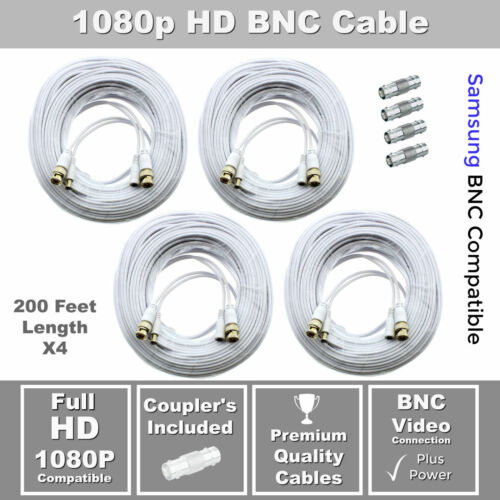 SDH-C84080 Lot of 4 200ft Samsung Wisenet Compatible HD Cable f// 5MP SDH-C85105