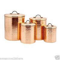 Copper Kitchen Canisters Set Containers Stainless Steel Country Rustic Metal