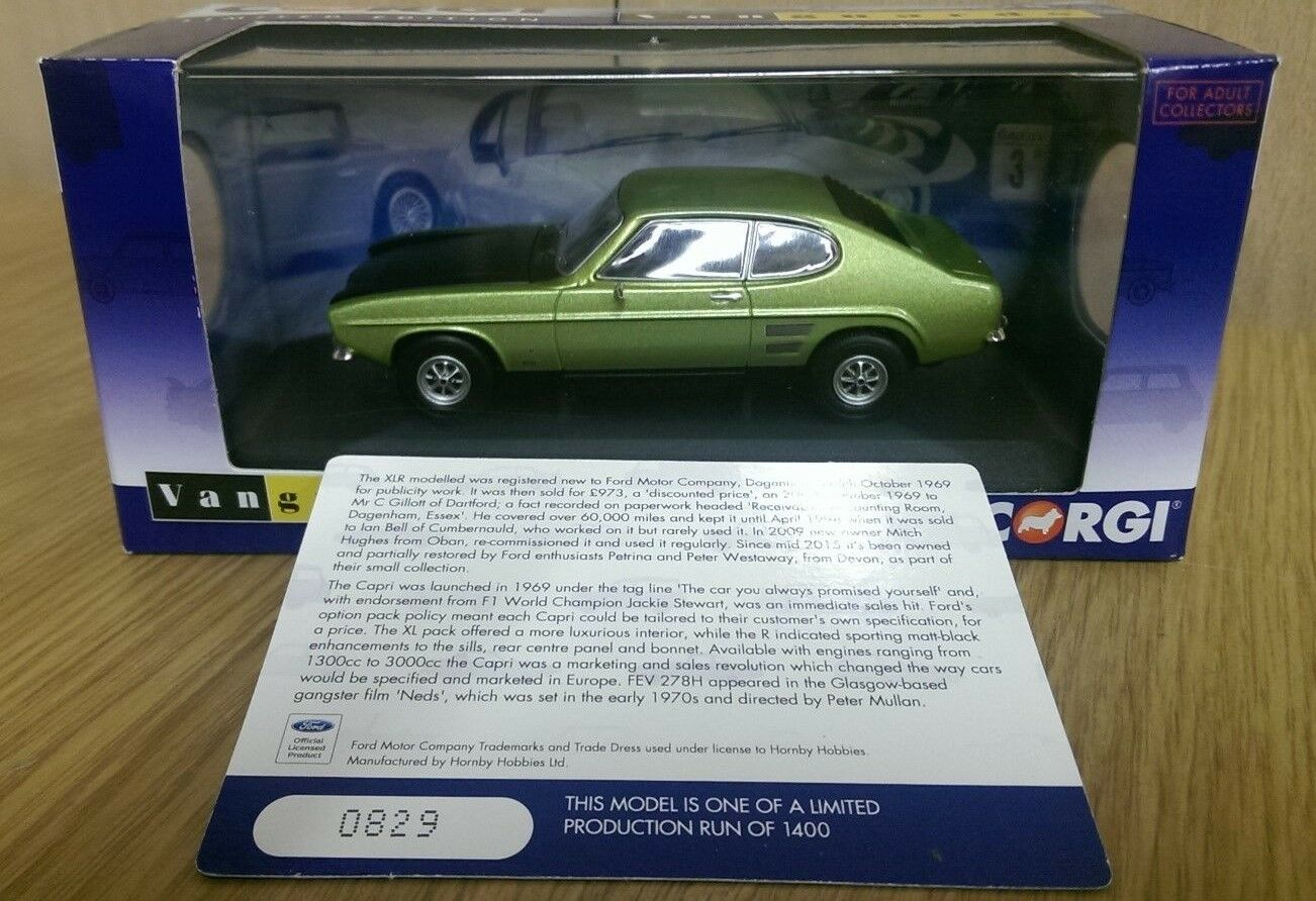 Corgi VA13310 Ford Capri Mk1 1600GT XLR Fern Green Met. Ltd Edition 0829 of 1400