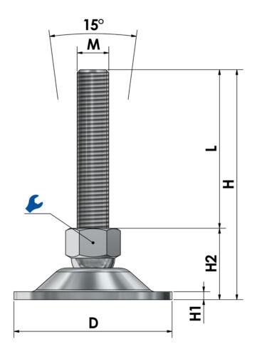 Maschinenfuß höhenverstellbar Maschinenschuh Fuß Ø 80mm Stellfuß Stützfuß M8-M30