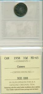ICCS-CAN-1958-10-cents-MS-65-Cameo-XGE-088