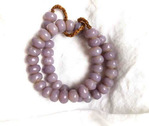 Vintage Lilac Glass Faceted Rondelle Beads from Nepal Approx 15 x 11 mm 22""