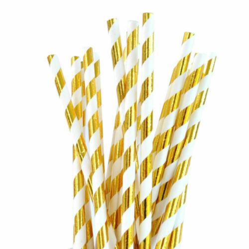 25 Goldfolie Papier Strohhalme Bio Hochzeit Party Cocktail Gastronomie Tisch