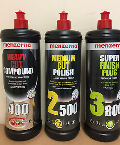 Menzerna 3 PACK 1L Heavy Cut 400 Medium Cut 2500 Super Finish Plus 3800 OFFER!!!