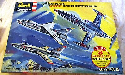 VINTAGE [1956] REVELL 3 SUPERSONIC JET FIGHTERS GIFT SET [F-104A F8U-1 F11F-1]