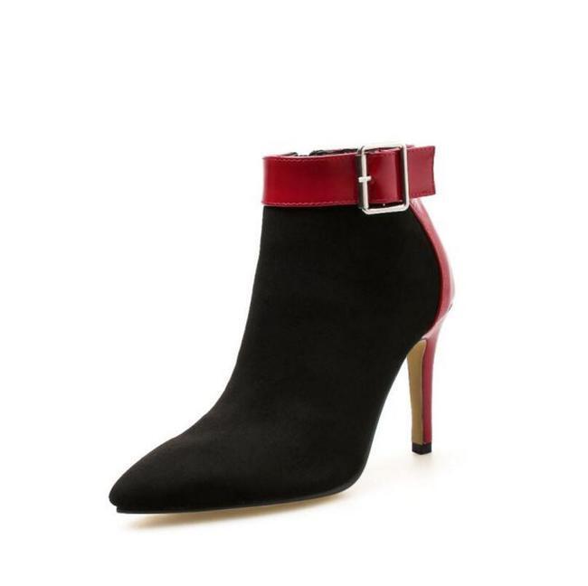 botas stivaletti  stiletto 9 negro rojo tronchetto pelle sintetica 1514