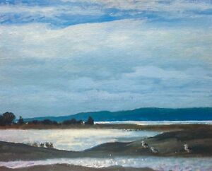 New-England-Seascape-Realism-Landscape-OIL-PAINTING-ART-IMPRESSIONIST-Original