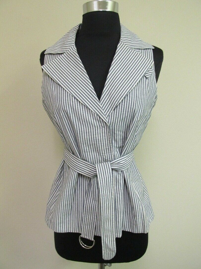 AKRIS PUNTO Blau Cream Striped Belt Collar Sleeveless Blouse Top Sz 6 GG8148