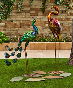 Details About Outdoor Lawn Ornaments Statues Birds Flamingo Pea Yard Decor Metallic Metal