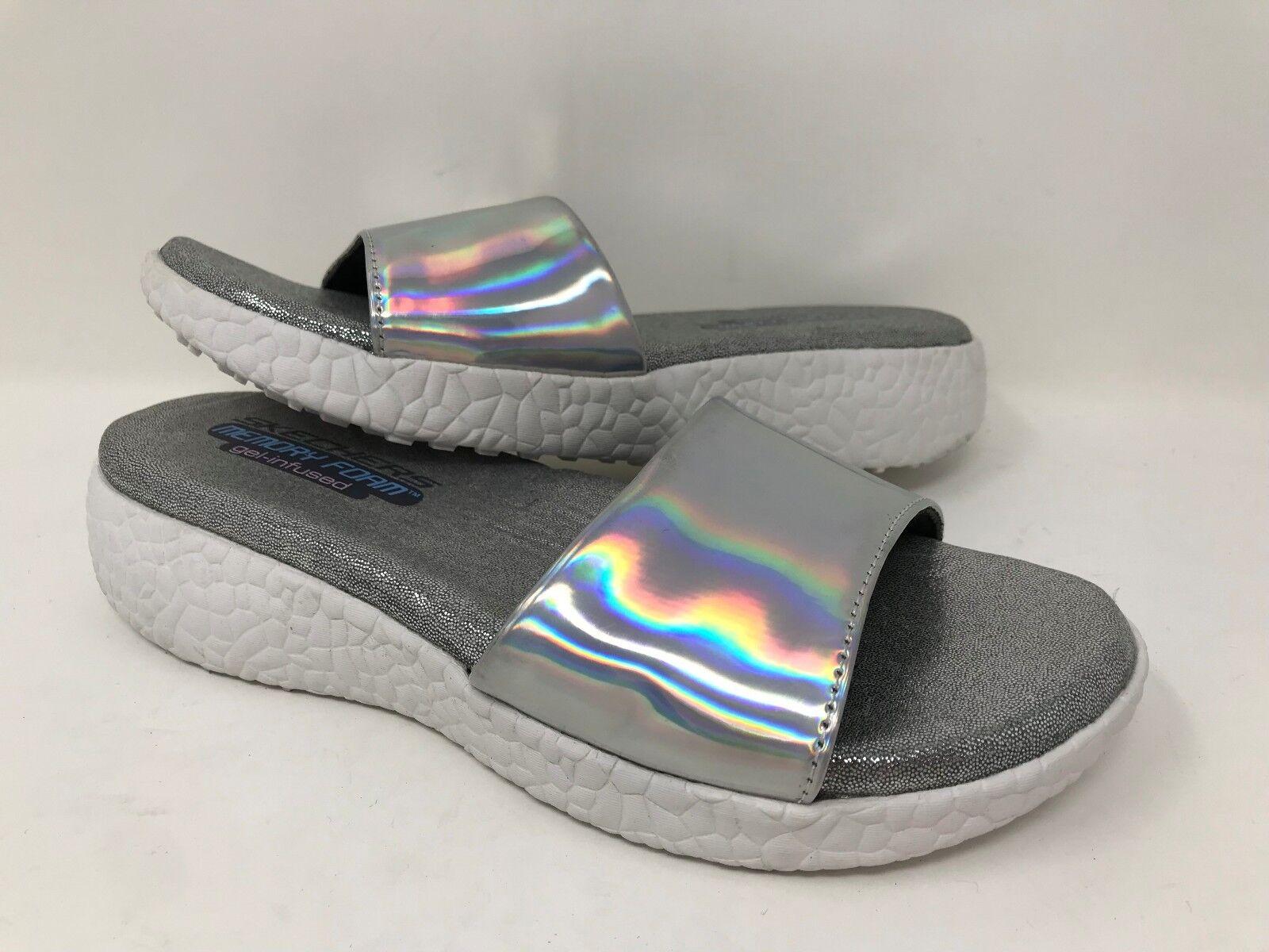 New! Women's Skechers 38600 Cali Cali 38600 Burst Introspect Sandal SIZE 6 Silver/White B42 c126ba