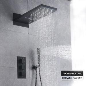 ORB-Thermostat-Duscharmatur-Regendusche-und-Handbrause-Wasserfall-Duschsystem