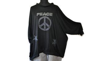 Layered-Look-Oversized-Big-Balloon-Sweater-Collar-Black-Statement-Rhinestone