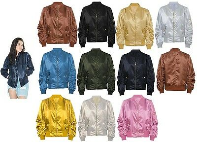 Women Ladies Satin Bomber Jacket Vintage Summer Coat Flight Army Biker Retro