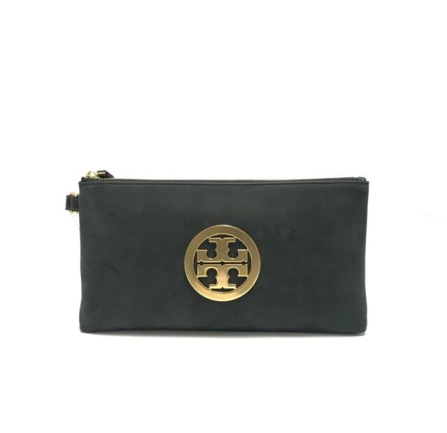 e3f5ce1ae6d7 Tory Burch Charlie Nubuck Suede Leather Large Black Logo Clutch Bag ...