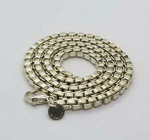 Tiffany-amp-Co-Venetian-Box-Chain-Link-Necklace-925-Sterling-Silver-Authentic-18