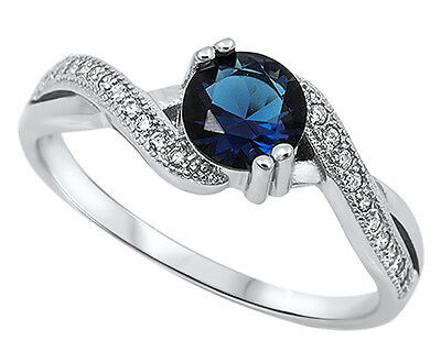 .925 Sterling Silver Round Blue Sapphire CZ Pave Accent Ring RC903